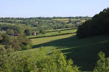 View from the seat towards Wilderhope Manor
